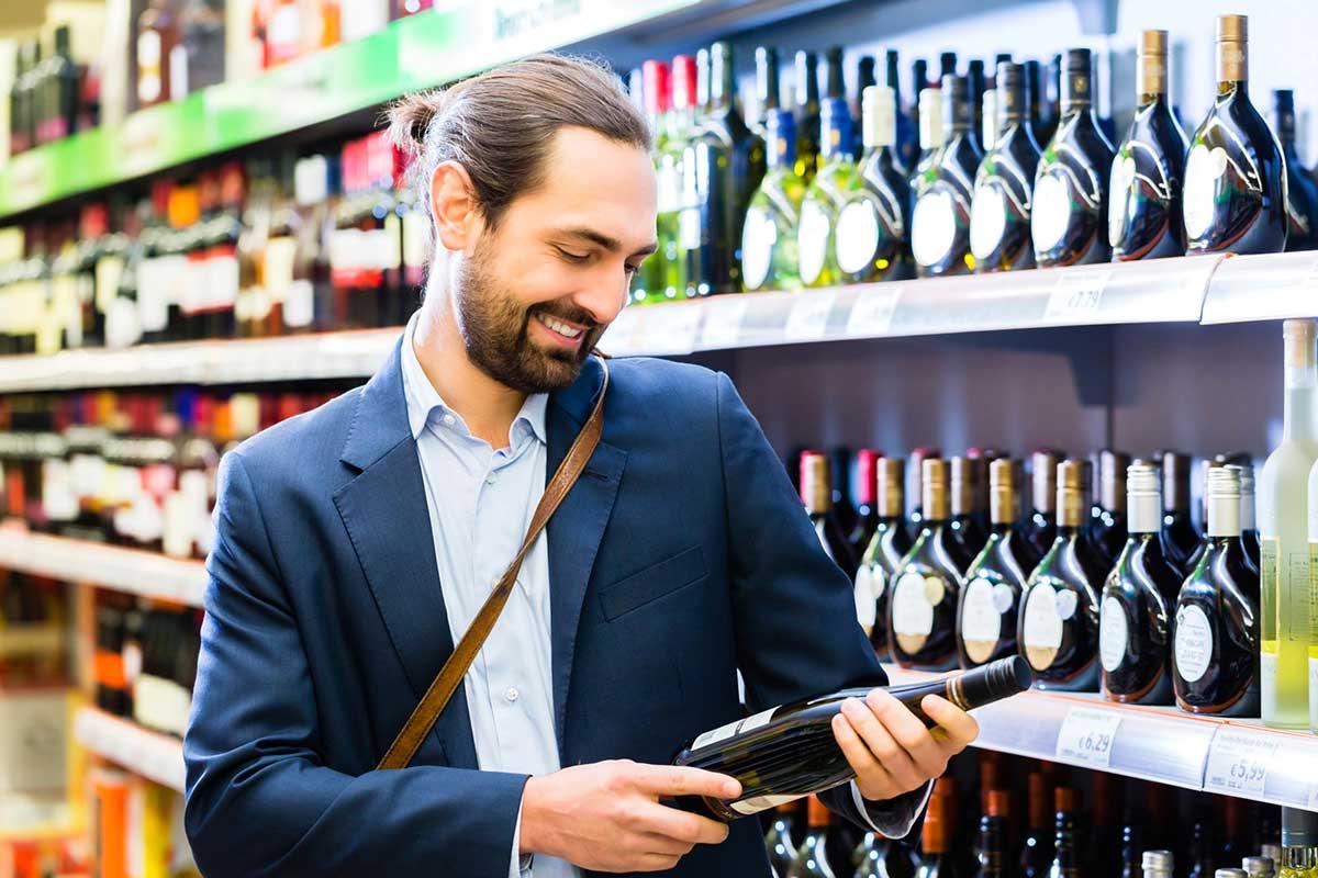 escolha de vinhos no ponto de vendas